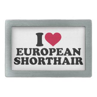 Amo el gato de Shorthair del europeo Hebillas De Cinturón Rectangulares