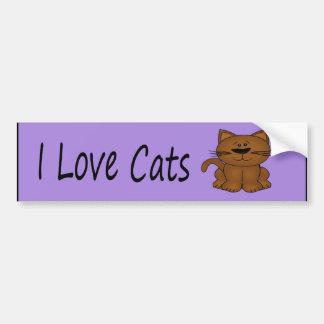 Amo el gato del dibujo animado de los gatos pegatina para auto