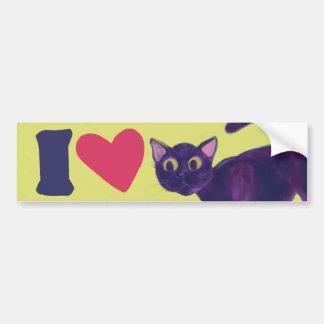 Amo el gato negro de los gatos pegatina para auto