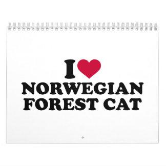 Amo el gato noruego del bosque calendario de pared