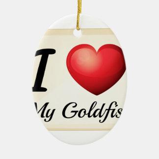 Amo el goldfish adorno navideño ovalado de cerámica