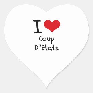 Amo el golpe D'Etats Pegatina En Forma De Corazón