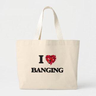 Amo el golpear bolsa tela grande