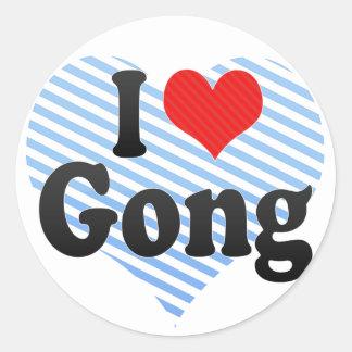 Amo el gongo pegatina redonda