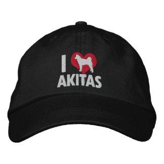 Amo el gorra bordado Akitas (oscuro) Gorras Bordadas