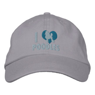 Amo el gorra bordado los caniches (azul) gorra de beisbol