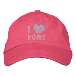 Amo el gorra bordado Poms (el rosa) Gorra De Béisbol