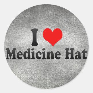 Amo el gorra de la medicina, Canadá Etiquetas Redondas