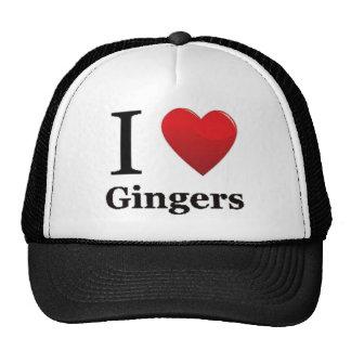 Amo el gorra de los jengibres