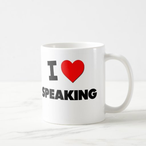 Amo el hablar taza básica blanca