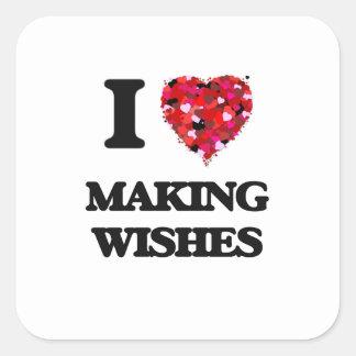 Amo el hacer de deseos pegatina cuadrada