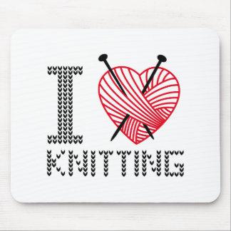 Amo el hacer punto, arte de la palabra, diseño del tapete de raton