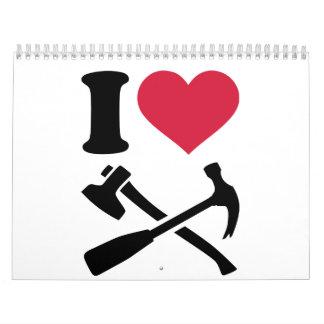 Amo el hacha del martillo de las herramientas calendario