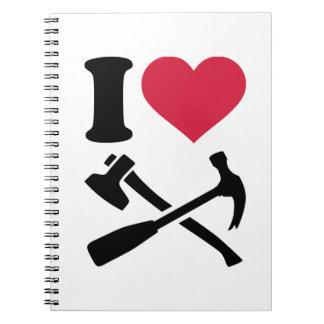 Amo el hacha del martillo de las herramientas libro de apuntes con espiral