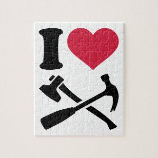 Amo el hacha del martillo de las herramientas rompecabeza