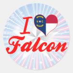 Amo el halcón, Carolina del Norte Etiqueta Redonda