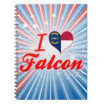 Amo el halcón, Carolina del Norte Libros De Apuntes Con Espiral