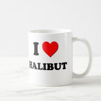 Amo el halibut (la comida) tazas de café