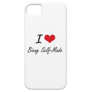 Amo el hecho a sí mismo diseño artístico de Bieng Funda Para iPhone 5 Barely There