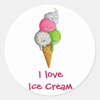 Amo el helado pegatina redonda
