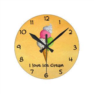 Amo el helado reloj de pared