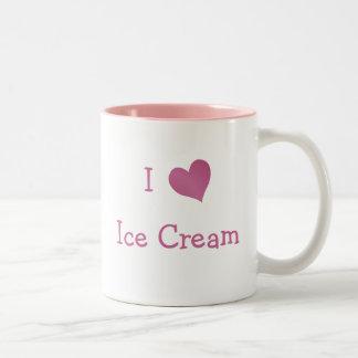 Amo el helado taza de café de dos colores