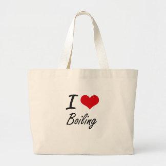 Amo el hervir de diseño artístico bolsa tela grande