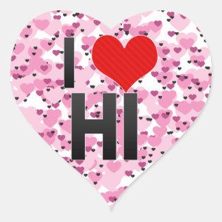 Amo el HI Calcomania Corazon Personalizadas