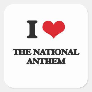 Amo el himno nacional pegatina cuadrada