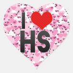 Amo el HS Pegatina En Forma De Corazón
