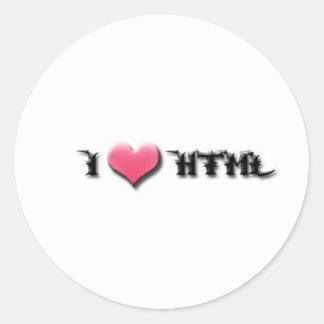 Amo el HTML Pegatina Redonda