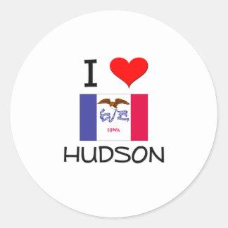 Amo el HUDSON Iowa Pegatina Redonda