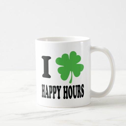 Amo el icono de las horas felices taza básica blanca