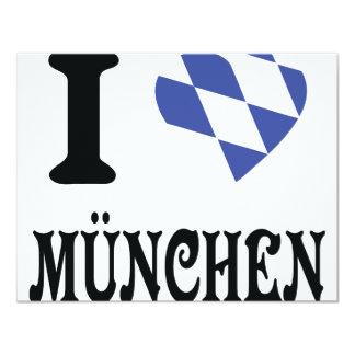 Amo el icono de München Invitación 10,8 X 13,9 Cm