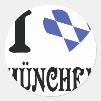 Amo el icono de München Pegatina Redonda