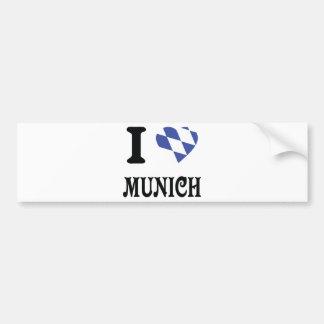 Amo el icono de Munich Pegatina De Parachoque