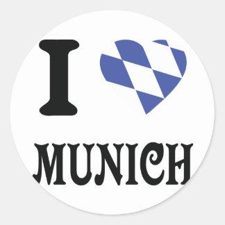 Amo el icono de Munich Etiqueta Redonda