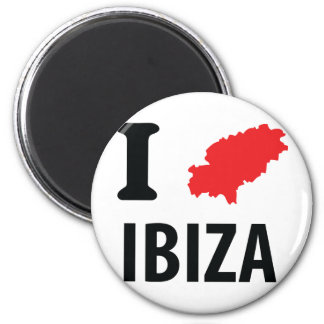 Amo el icono del contorno de Ibiza Imán Redondo 5 Cm