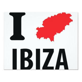 """Amo el icono del contorno de Ibiza Invitación 4.25"""" X 5.5"""""""