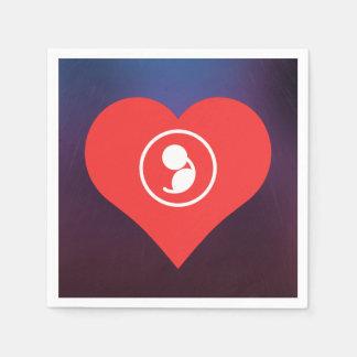 Amo el icono del embarazo servilleta desechable