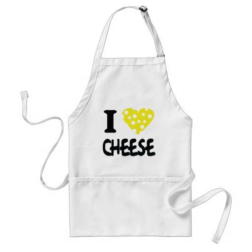 Amo el icono del queso delantales