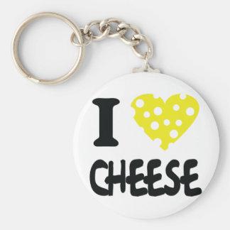 Amo el icono del queso llavero redondo tipo pin