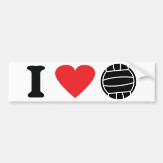 Amo el icono del voleibol etiqueta de parachoque