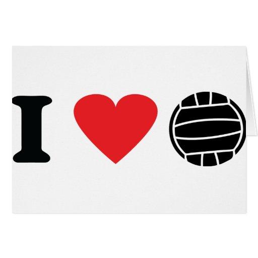 Amo el icono del voleibol tarjeta de felicitación