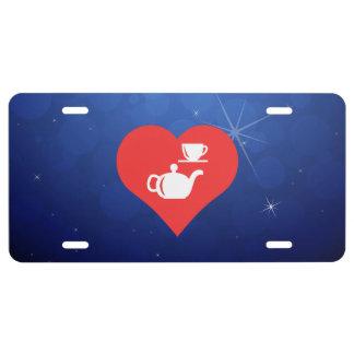 Amo el icono fresco de los juegos de té placa de matrícula