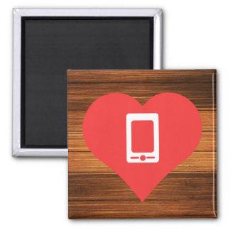 Amo el icono fresco de los smartphones imán cuadrado