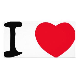Amo el icono rojo del corazón tarjetas personales con fotos