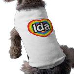Amo el Ida. Te amo Ida. Corazón Camisa De Mascota