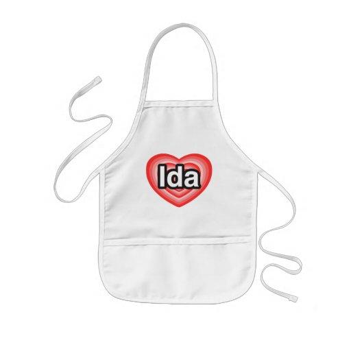 Amo el Ida. Te amo Ida. Corazón Delantales