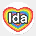 Amo el Ida. Te amo Ida. Corazón Etiquetas Redondas